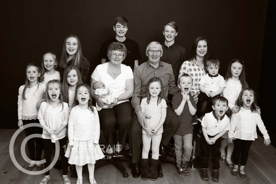 Family Portrait, Black & White Portrait, B&W, Grandchildren Portrait, Group Portrait, www.1portrait.ie