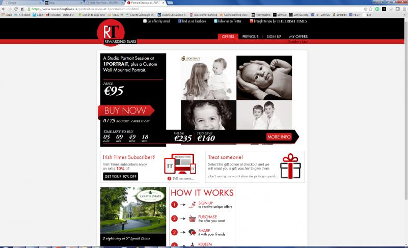 1PORTRAIT exclusive offer on Rewarding Times www.1portrait.ie