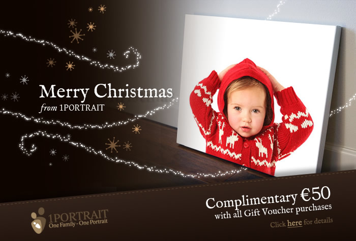 Christmas Gift Vouchers - Perfect Christmas Gift www.1portrait.ie