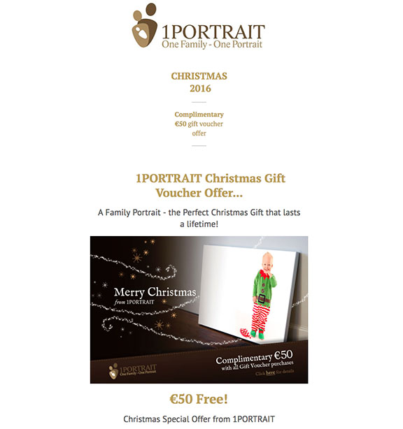 €50 Free Christmas Gift Voucher Offer www.1portrait.ie