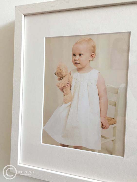 Custom Handmade Frames: Family Portrait Photography solid wood frame studio portrait of little girl www.1portrait.ie