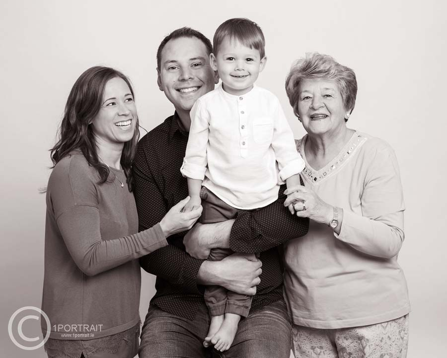 Family Portrait Gift Vouchers - Photo of 3 generations of family, The Perfect Christmas Gift www.1portrait.ie