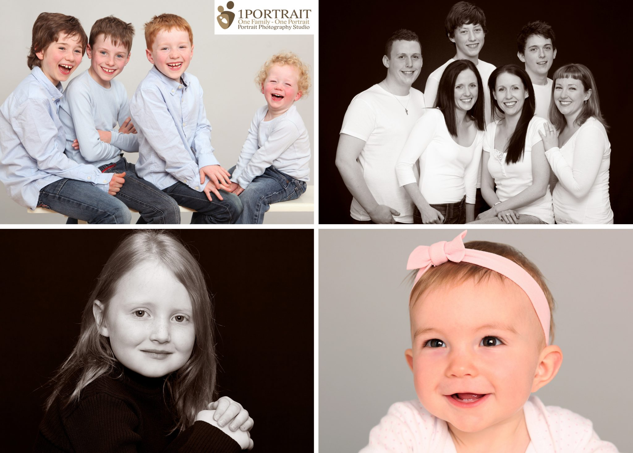 Collage of family portraits. 1PORTRAIT Family Photo Studio Dublin www.1portrait.ie