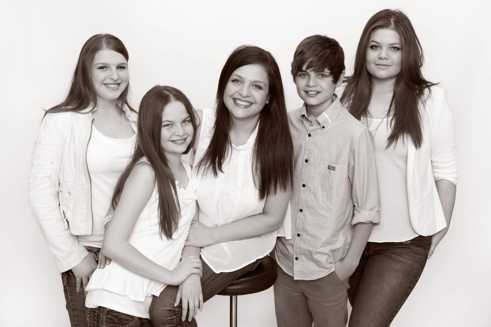 Mothers Day Gift: Professional Family Photo of mother and four children black and white in photography studio