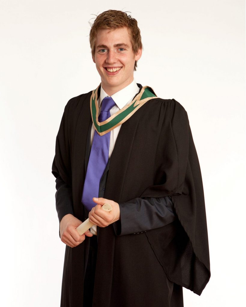 Young male student in photo studio Graduation photographer dublin