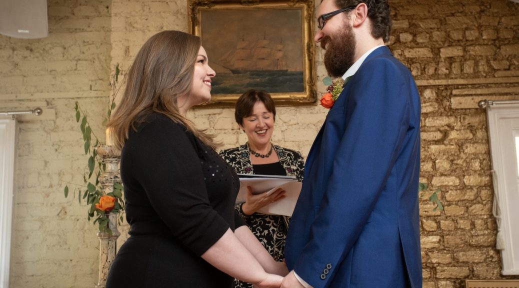 Civil Ceremony Wedding Bride Groom and celebrant Dublin Socially distanced wedding