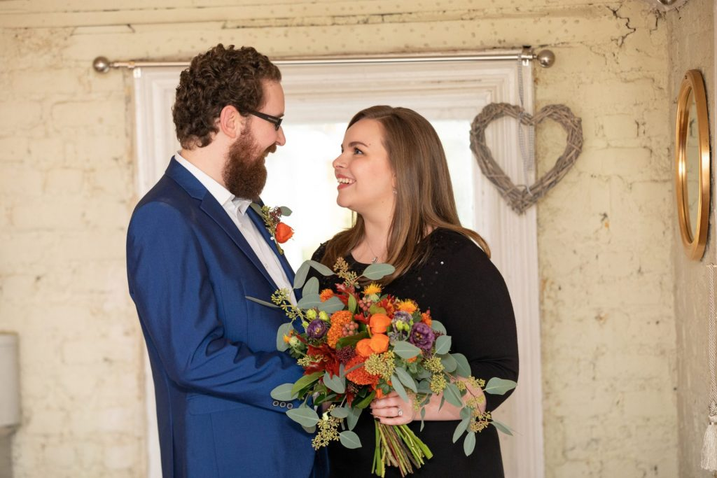 Civil Ceremony Wedding Bride and Groom Socially distanced wedding