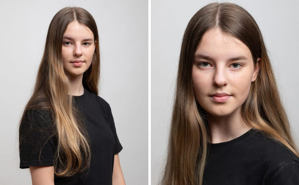 Portrait of female teenager with long brown hair. Child Actor Headshots Dublin Professional Portrait Photography Studio