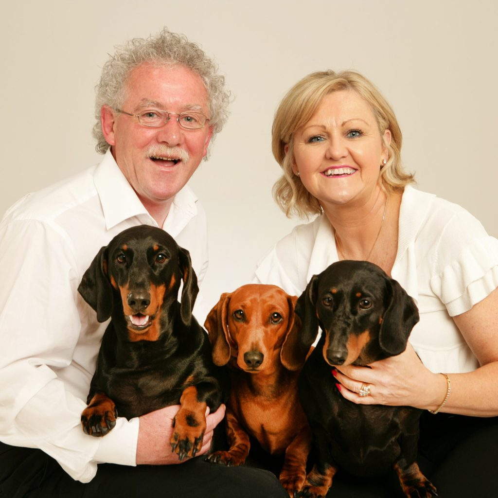 Dog & Family Photographer Family Portrait of couple with 3 dogs in professional photography studio
